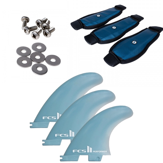 CRAZYFLY Surfboard accessories set (Fins FCS II, footstraps, screws)