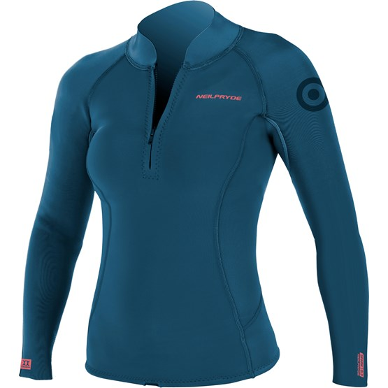NEILPRYDE Womens Spark Neo Top 2mm petrol blue/coral