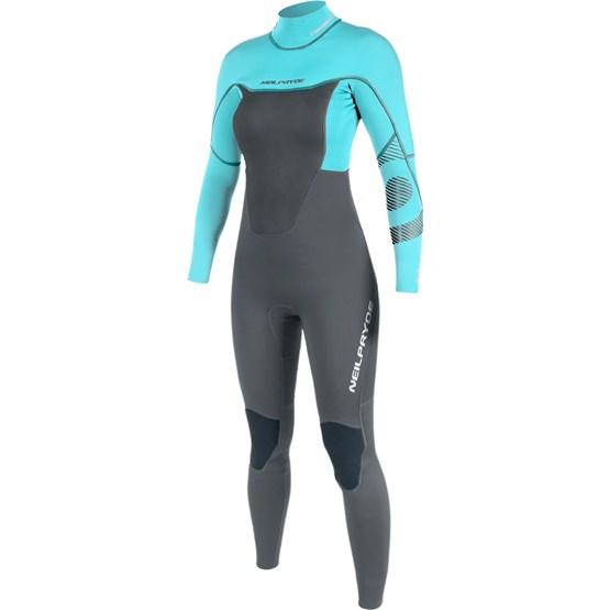 NEILPRYDE Womens wetsuit Spark Fullsuit 3/2 BZ Graphite/Turquoise