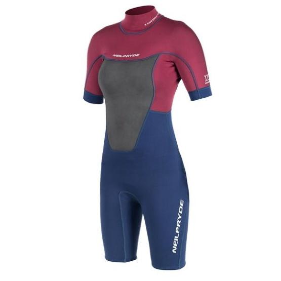 NEILPRYDE Womens wetsuit Spark Springsuit 2/2 BZ C2 Blood Red/Navy