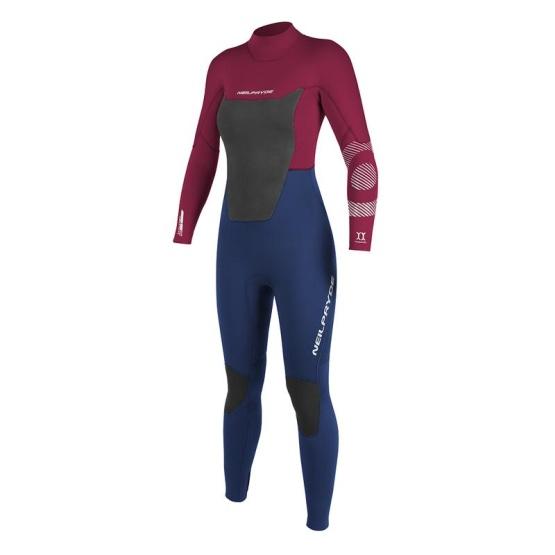 NEILPRYDE Womens wetsuit Spark Fullsuit 5/4/3 BZ C2 Blood Red/Navy