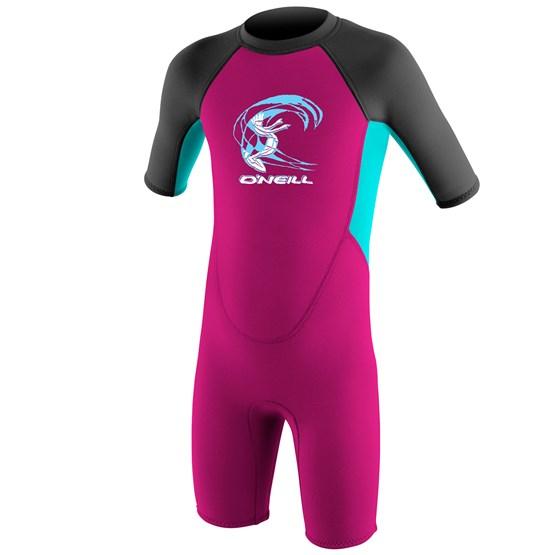 O'NEILL Kids wetsuit Reactor-2 2mm Back Zip S/S Spring - Girls BERRY/LTAQUA/GRAPH