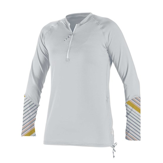 O'NEILL Womens rashguard Front Zip L/S Sun Shirt WHITE/MIKA