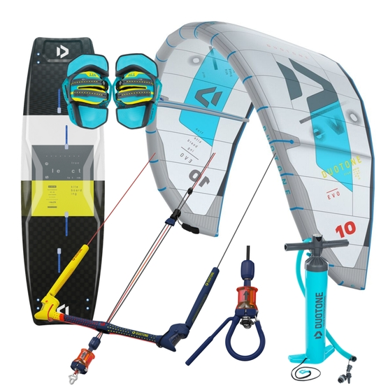 DUOTONE Package: EVO kite 2020 + bar and optional SELECT board & pump