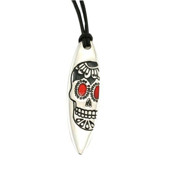 Silver+Surf Naszyjnik Surfboard XL Mexican Skull