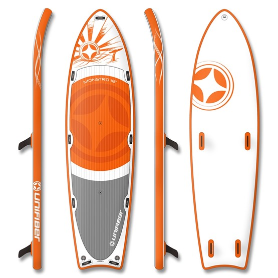 UNIFIBER Inflatable SUP Board MONSTRO TANDEM 18'0 (Pre-laminated Dropstitch Technology)
